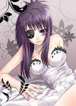 breasts chrome_dokuro cleavage eyepatch katekyo_hitman_reborn katekyo_hitman_reborn! nail_polish purple_eyes purple_hair riven ruffles violet_eyes