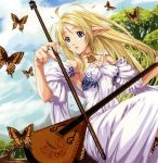 bare_shoulders blonde_hair blue_eyes butterfly dress eiwa elf fingernails highres instrument long_hair nail_polish pointy_ears ring solo white_dress