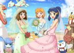 3girls blaziken blush buneary dress glaceon gouguru green_dress haruka_(pokemon) hikari_(pokemon) kasumi_(pokemon) pikachu pink_dress piplup pokemon pokemon_(creature) psyduck smile togetic veil wedding_dress white_dress