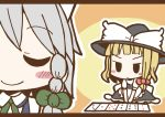 >:| adomi blonde_hair braid card closed_eyes comic hat izayoi_sakuya kirisame_marisa maid millipen_(medium) short_hair silver_hair smile touhou traditional_media twin_braids witch_hat