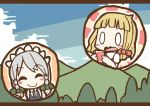 0_0 adomi blonde_hair braid closed_eyes clouds comic forest hat izayoi_sakuya kirisame_marisa maid millipen_(medium) nature open_mouth short_hair silver_hair sky smile surprised touhou traditional_media tree twin_braids witch_hat