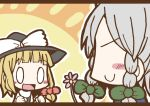 0_0 :d adomi blonde_hair braid comic flower hat izayoi_sakuya kirisame_marisa maid millipen_(medium) no_eyes open_mouth short_hair silver_hair smile touhou traditional_media twin_braids witch_hat