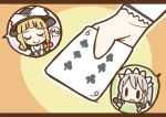 adomi blonde_hair braid card closed_eyes comic english hands hat holding holding_card izayoi_sakuya kirisame_marisa maid millipen_(medium) no short_hair silver_hair solid_oval_eyes touhou traditional_media twin_braids witch_hat wrist_cuffs