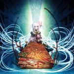 book collar cotetsu_yamanaka cthulhu doll dress flower frills library long_hair lovecraft necronomicon pink_eyes very_long_hair white_hair yamanaka_kotetsu