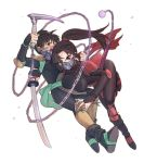 1boy 1girl abiko_yuuji bodysuit breasts brown_eyes brown_hair eyeliner face_mask inuyasha katana knee_pads kohaku_(inuyasha) kusarigama large_breasts long_hair makeup mask mask_removed ponytail sango shoulder_armour shoulder_pads siblings sickle sword weapon