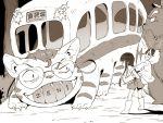 1000marie child frown gamagoori_ira glasses grin kill_la_kill kiryuuin_satsuki kusakabe_satsuki kusakabe_satsuki_(cosplay) matoi_ryuuko namesake nekobus parody piggyback raincoat smile takarada_kaneo tonari_no_totoro totoro younger