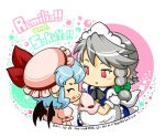 2girls apron bat_wings blue_hair bow braid closed_eyes commentary_request dated dress food food_on_face green_ribbon grey_hair hair_ribbon hat hat_bow izayoi_sakuya kingguyver maid_apron maid_headdress mob_cap multiple_girls pink_dress pink_hat puffy_short_sleeves puffy_sleeves red_bow remilia_scarlet ribbon short_hair short_sleeves touhou tress_ribbon wings