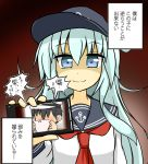 1boy 1girl admiral_(kantai_collection) anchor_symbol blue_eyes cellphone commentary_request flat_cap goodsun_sunkumi hair_between_eyes hat hibiki_(kantai_collection) highres kantai_collection long_hair long_sleeves panties peaked_cap phone photo shaded_face short_hair smartphone smelling smile translation_request underwear