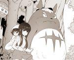 1000marie bus_stop child gamagoori_ira kill_la_kill kiryuuin_satsuki kusakabe_satsuki kusakabe_satsuki_(cosplay) matoi_ryuuko namesake parody piggyback raincoat sleeping tonari_no_totoro totoro younger