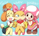 3girls animal_ears blue_eyes blush bow bracelet closed_eyes doubutsu_no_mori eromame hair_bow holding_hands jewelry multiple_girls necklace no_pupils one_eye_closed shizue_(doubutsu_no_mori) squatting super_mario_bros. tail toadette wendy_o._koopa yuri