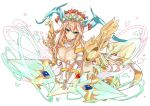 1girl aqua_eyes blonde_hair breasts cleavage headdress highres long_hair looking_at_viewer puzzle_&_dragons sakuya_(p&d) smile solo tail weapon wings