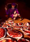 absurdres blood bone brain cannibalism crossed_legs cup eyeball fork formal gehirnkaefer heart_(organ) highres holding_cup intestines jaw knife necktie purple_hair purple_suit suit tokyo_ghoul tray tsukiyama_shuu violet_eyes wine_bottle wine_glass