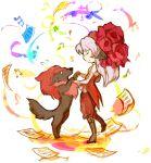 1girl beatmania beatmania_iidx boots closed_eyes colorful corset dancing dog elbow_gloves flower gloves hair_flower hair_ornament holding_hands long_hair mane musical_note pink_hair rose sakata_kaname sheet_music sirius_(beatmania) sketch smile waltz_(dance) white_background