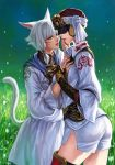 2girls animal_ears blonde_hair blue_eyes cat_ears facial_mark final_fantasy final_fantasy_xiv goggles hand_on_another's_face hat highres mask miqo'te multiple_girls open_mouth pengnangehao short_hair smiel smile tail white_hair y'shtola yda_(ff14) yuri