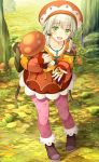 1girl :d absurdres autumn_leaves backpack bag blush boots collarbone green_eyes hat highres jewelry leaning_forward looking_at_viewer low_twintails momoiro_taisen_pairon mushroom namaru_(summer_dandy) necklace official_art open_mouth original outdoors pantyhose pink_legwear seed skirt smile solo twintails white_hair