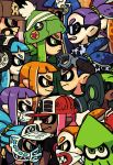 alex_ahad confrontation face-to-face gas_mask goggles goggles_on_head grin hat headphones highres inkling marvel_vs._capcom marvel_vs._capcom_2 mask multiple_boys multiple_girls parody profile serious smile splatoon squid staring