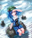 1girl blue_eyes blue_hair breasts cleavage dutch_angle flat_cap hair_bobbles hair_ornament hand_on_own_forehead hat highres kawashiro_nitori looking_at_viewer open_clothes open_shirt ripples shirt short_hair short_sleeves sitting_on_rock skirt smile soaking_feet solo stream thcapenxer1234 touhou twintails undershirt wet wet_clothes