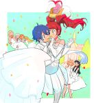 4boys 4girls amagi_yukiko bare_shoulders blush bridal_veil bride carrying church crossdressing dress elbow_gloves flower gloves gown groom hair_flower hair_ornament hanamura_yousuke kida_yu kujikawa_rise kuma_(persona_4) long_hair multiple_boys multiple_girls narukami_yuu otoko_no_ko persona persona_4 princess_carry reverse_trap satonaka_chie shirogane_naoto short_hair tatsumi_kanji veil wedding_dress yuri