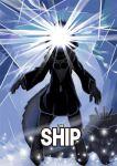 1girl glowing gorirambo hard_translated hoodie kantai_collection light_rays movie_poster parody re-class_battleship scarf shinkaisei-kan small_breasts solo tail the_thing unzipped