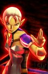 1girl aura breastplate derivative_work fighting_stance impa nose pauldrons pointy_ears red_eyes reference_photo short_hair solo the_legend_of_zelda theskywaker white_hair zelda_musou