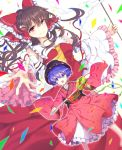2girls ascot blue_eyes blue_hair bow bowl_hat brown_hair confetti detached_sleeves dutch_angle frilled_sleeves frills furapechi gohei hair_bow hair_tubes hakurei_reimu japanese_clothes kimono looking_at_viewer minigirl miracle_mallet multiple_girls needle obi open_mouth outstretched_hand petticoat ponytail red_eyes sash short_hair simple_background skirt skirt_set smile sukuna_shinmyoumaru touhou white_background wind