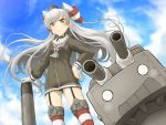 1girl amatsukaze_(kantai_collection) black_panties blue_sky blush brown_eyes clouds cowboy_shot dress garter_straps gloves hair_tubes hand_on_hip highres kantai_collection long_hair long_sleeves looking_at_viewer outdoors panties qome rensouhou-kun sailor_dress see-through short_dress silver_hair single_glove sky small_breasts solo standing striped striped_legwear thigh-highs torpedo two_side_up underwear white_gloves