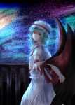 1girl arm_behind_back balcony bat_wings blue_hair head_tilt highres light_frown looking_at_viewer mob_cap outstretched_hand red_eyes remilia_scarlet short_hair short_sleeves skirt skirt_set sky solo star_(sky) starry_sky thcapenxer1234 touhou wings wrist_cuffs