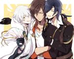 3boys black_hair brown_hair chain closed_eyes crossed_arms eyepatch formal gloves japanese_clothes kai28 multiple_boys one_eye_closed ookurikara open_mouth shokudaikiri_mitsutada silver_hair smile suit touken_ranbu tsurumaru_kuninaga v yellow_eyes