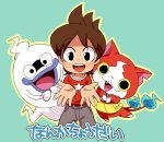 1boy amano_keita brown_hair cat fangs ghost jibanyan looking_at_viewer multiple_tails notched_ear open_mouth purple_lips sakiko_(gekiama) simple_background tail two_tails whisper_(youkai_watch) youkai youkai_taisou_dai-ni youkai_watch
