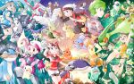 absol altaria backpack bag bandana banette beautifly bicycle blaziken blue_eyes brown_hair bubble bulbasaur butterfree camerupt castform clouds cloudy_sky combusken delcatty donphan eevee fingerless_gloves flygon gardevoir gasshou glasses gloves green_eyes green_hair haruka_(pokemon) hat highres jirachi magneton masato_(pokemon) masquerain microphone mightyena milotic minun mitsuru_(pokemon) mudkip munchlax ocean octillery petals plusle pokemon pokemon_(creature) pokemon_(game) pokemon_rse red_eyes roselia short_shorts shorts shroomish skitty sky sleeveless sparkle squirtle sun swampert swellow torchic treecko tropius wailmer wigglytuff yuuki_(pokemon)
