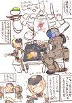 apron chopsticks eating energy_sword frame_arms frame_arms_girl gourai highres lightsaber okonomiyaki rondo_bell shaved_ice sword translation_request tray weapon