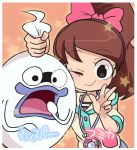 1girl brown_hair character_name ghost high_ponytail kodama_fumika long_hair looking_at_viewer one_eye_closed open_mouth pendant_watch purple_lips sakiko_(gekiama) smile star watch whisper_(youkai_watch) youkai youkai_watch youkai_watch_(object)