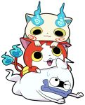 :3 cat fangs furoshiki ghost jibanyan koma-san multiple_tails no_humans notched_ear open_mouth purple_lips sakiko_(gekiama) simple_background sweat tail two_tails whisper_(youkai_watch) white_background youkai youkai_watch