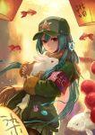 1girl absurdres aqua_hair armband carp crazat fish goldfish highres lantern looking_at_viewer paper_lantern rabbit red_eyes solo