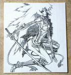 1girl armor cis_(animatrix) graphite_(medium) helmet japanese_armor kneeling looking_at_viewer minowa_yutaka photo sword the_animatrix traditional_media weapon