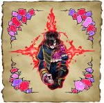1girl black_hair bloodstained:_ritual_of_the_night brown_hair concept_art detached_sleeves gauntlets gradient_hair hair_between_eyes hair_ornament looking_at_viewer miriam_(bloodstained) multicolored_hair natsume_yuji official_art red_eyes short_hair solo stained_glass