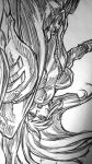 1girl belt black_widow female graphite_(medium) long_hair marvel minowa_yutaka monochrome sketch solo traditional_media upside-down