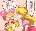 2girls artist_name blonde_hair blue_eyes blush bow bracelet claws crown dress earrings elbow_gloves eromame flying_sweatdrops gloves holding_hands jewelry large_bow lipstick long_hair makeup mario_(series) monster_girl multiple_girls necklace pearl_necklace polka_dot polka_dot_bow princess_peach shell size_difference spikes tail translation_request wendy_o._koopa