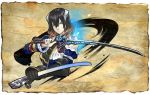 1girl black_hair bloodstained:_ritual_of_the_night blue_eyes brown_hair concept_art detached_sleeves gauntlets gradient_hair hair_between_eyes hair_ornament katana looking_at_viewer miriam_(bloodstained) multicolored_hair natsume_yuji official_art sheath short_hair solo stained_glass sword weapon