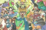 4girls 6+boys backwards_hat bandana bike_shorts black_eyes black_hair black_shirt black_shorts blaziken blonde_hair blue_(pokemon) blue_bandana blue_eyes blue_hair blue_shirt brown_hair charizard chuchu_(pokemon) crystal_(pokemon) denim emerald_(pokemon) fangs feraligatr flower forehead_jewel goggles_on_hat gold_(pokemon) green_eyes green_shirt grey_eyes hair_flower hair_ornament hat jacket jeans jumping meganium multiple_boys multiple_girls odamaki_sapphire official_art ookido_green open_clothes open_jacket open_mouth pants pichu pika_(pokemon) pikachu pink_jacket pokemon pokemon_(creature) pokemon_special poster red_(pokemon) red_eyes red_hat red_jacket red_shirt ruby_(pokemon) sceptile shirt shorts silver_(pokemon) sleeveless sleeveless_shirt smile swampert teeth tongue typhlosion venusaur wartortle yamamoto_satoshi yellow_(pokemon) yellow_eyes yellow_hat yellow_shorts