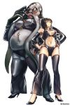2girls aken black_eyes black_hair breasts cleavage_cutout cosplay detached_sleeves from_below full_body hands_on_hips highres looking_at_viewer monster_girl multiple_girls narberal_gamma navel_piercing neuronist_painkil overlord_(maruyama) piercing ponytail standing tagme