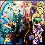 black_border border brothers bullet c-moon_(stand) cd clouds coin enrico_pucci frog gears highres horns jewelry jojo_no_kimyou_na_bouken made_in_heaven_(stand) perla_pucci rainbow ring robe siblings sky snail stand_(jojo) star_(sky) starry_sky weather_report weather_report_(stand) white_hair whitesnake_(stand) yyy246