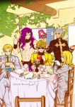 artist_name bag blonde_hair blue_eyes diavolo dio_brando drinking_glass enrico_pucci fork formal french_fries funny_valentine gloves grey_hair headband ivy jojo_no_kimyou_na_bouken kars_(jojo) kira_yoshikage knife mcdonald's musical_note napkin necktie paper_bag pink_hair plant plate purple_hair scarf severed_hand sparkle speech_bubble suit sunglasses tianel_ent tongue tongue_out wine_bottle wristband