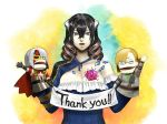 1girl black_hair bloodstained:_ritual_of_the_night gebel_(bloodstained) hair_between_eyes hand_puppet johannes_(bloodstained) miriam_(bloodstained) mismatched_sleeves natsume_yuji official_art pale_skin puppet thank_you