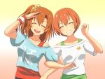 2girls closed_eyes collarbone facing_viewer gradient gradient_background grin hoshizora_rin kousaka_honoka locked_arms love_live!_school_idol_project multiple_girls open_mouth orange_hair pochita salute short_hair side_ponytail smile