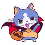 artist_name cape character_request cowl dated dracula fangs ghost-pepper green_sclera halloween jack-o'-lantern lowres no_humans simple_background solo white_background youkai_watch
