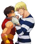 2boys black_hair blonde_hair chain cody_travers eye_contact facial_hair final_fight gai_(final_fight) goroumaru_(galaxy2-3-6) grin handwraps height_difference looking_at_another multiple_boys muscle ninja prison_clothes short_hair smile street_fighter street_fighter_zero stubble yaoi