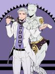 alternate_color arm_around_neck formal hands_clasped interlocked_fingers jojo_no_kimyou_na_bouken killer_queen kira_yoshikage nail_polish necktie purple purple_nails severed_hand shirt stand_(jojo) striped striped_shirt suit ty_1865 violet_eyes white_hair