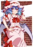 1girl bat_wings blue_hair blush bow eichi_yuu fang hand_on_hip hat hat_ribbon highres looking_at_viewer mob_cap red_bow red_eyes red_ribbon remilia_scarlet ribbon short_hair short_sleeves solo touhou wings wrist_cuffs
