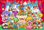 bag bandaid blonde_hair blush_stickers bow bowser character_request crown dress earrings ghost-pepper hair_bow hand_behind_head hat highres jewelry letter long_hair luigi mario nintendo one_eye_closed overalls paper_mario pink_dress princess_peach satchel super_paper_mario waving wings